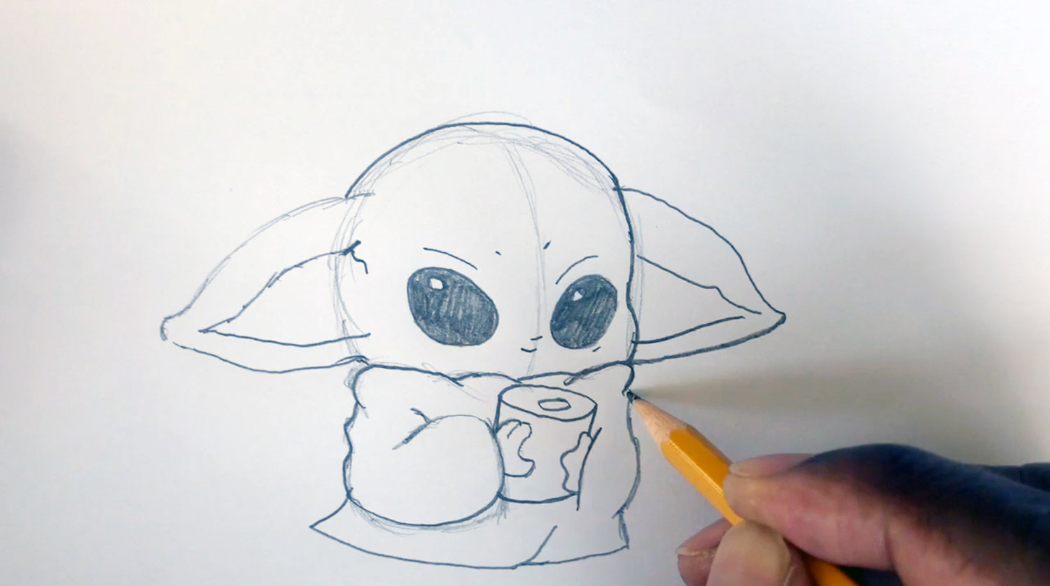 Art teacher Bryan Kilgore's second YouTube daily instructional video features Baby Yoda with TP.