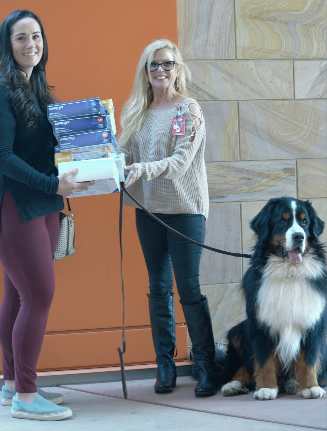 Applewood Animal Hospital Medical Director Dr. Elizabeth Drummond delivers supplies with the animal hospital's official greeter, a four-year-old Bernese Mountain Dog who is a registered therapy dog, to Erin Hegedus, a member of the Phoenix Children's Hospital COVID-19 Command Center Team.