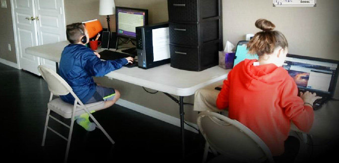 The Downing family's students do their schoolwork online through Glendale Charter School.