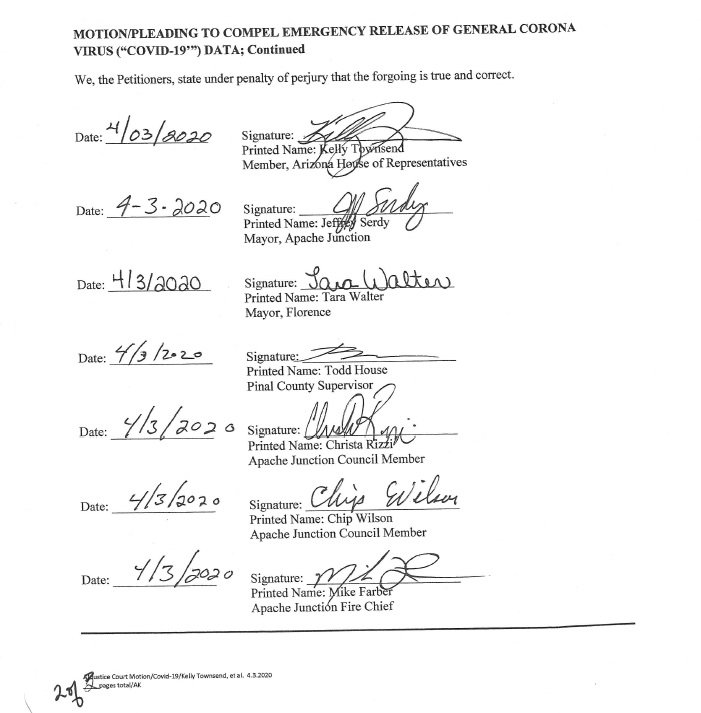 The signature page,  as posted by Rep. Kelly Townsend, District 16, on Facebook @TownsendForHouse.