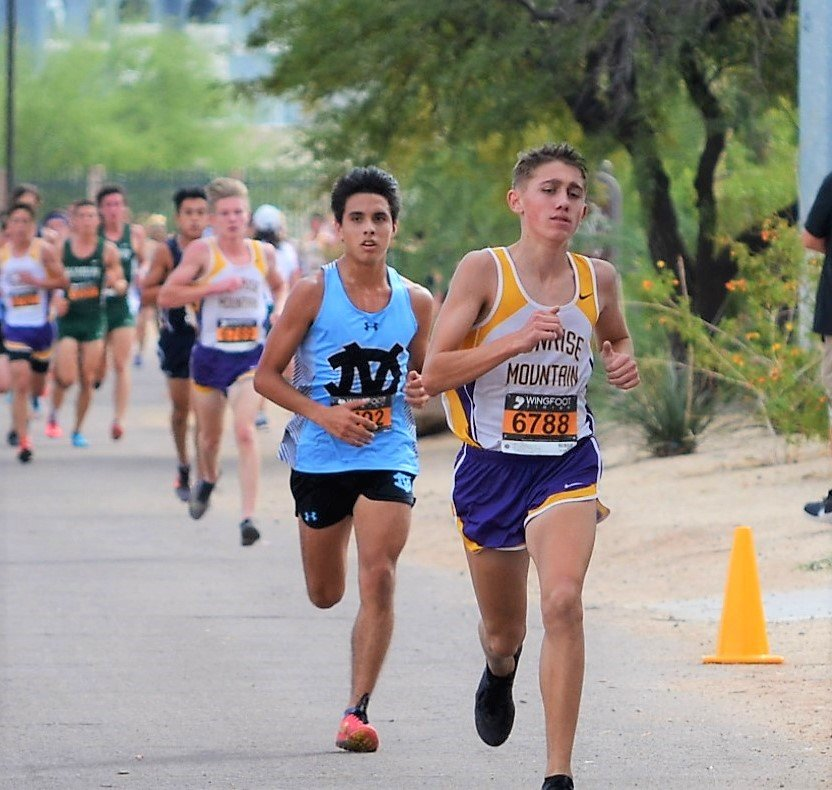 Sunrise Mountain senior Braedon Palmer and Deer Valley junior Randy Espinoza break away from the pack during the Division II Setion II cross country race Nov. 6 at Rose Mofford Park in Phoenix. Espinoza is able to start his senior season the week of Sept. 9.