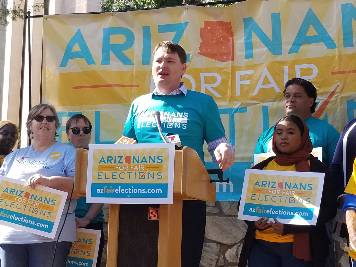 Joel Edman, of the Arizona Advocacy Network, speaks during a news conference in Phoenix on Wednesday, Oct. 30, 2019. Arizonans for Fair Elections was trying to get an ambitious set of elections reforms on the 2020 ballot.