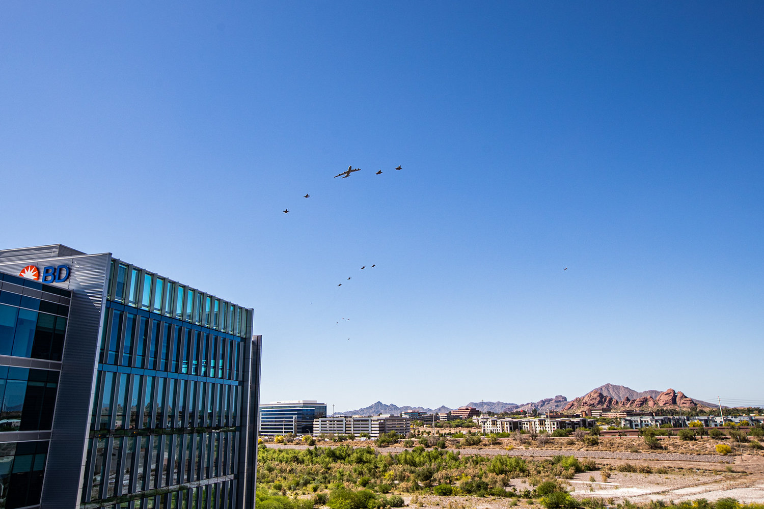 Aircraft from Luke Air Force Base conducted a flyover across the Valley of the Sun on May 1.