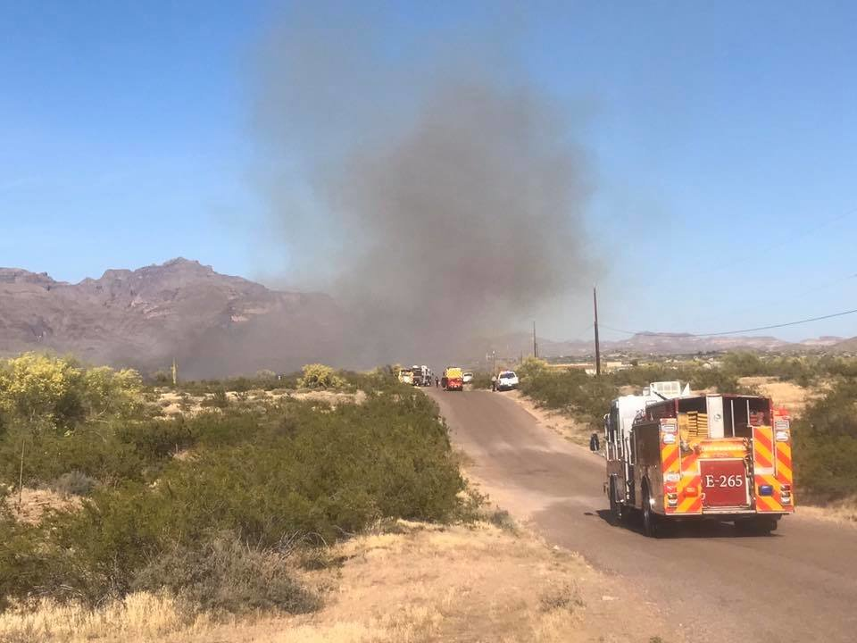 A second brush fire is burning just east of Goldfield Road near Southern Avenue in Apache Junction.