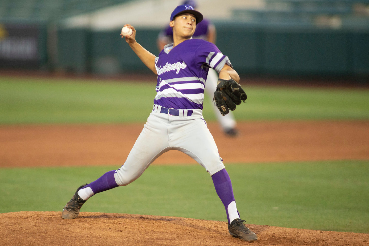 Sunrise Mountain's Alex Ramirez throws a pitch against Desert Mountain on Monday, May 6, 2019 at Tempe Diablo Stadium in Tempe. Coach Michael Deardoff said in the short 2020 season the junior became the Mustangs' No. 1 starter.