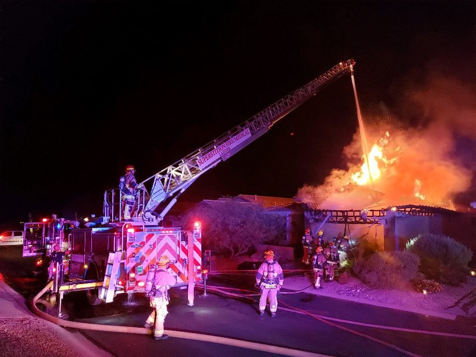 Firefighters were dispatched at 12:35 a.m. to the 6600 block of South Par Court in Gold Canyon for a report of a house on fire,