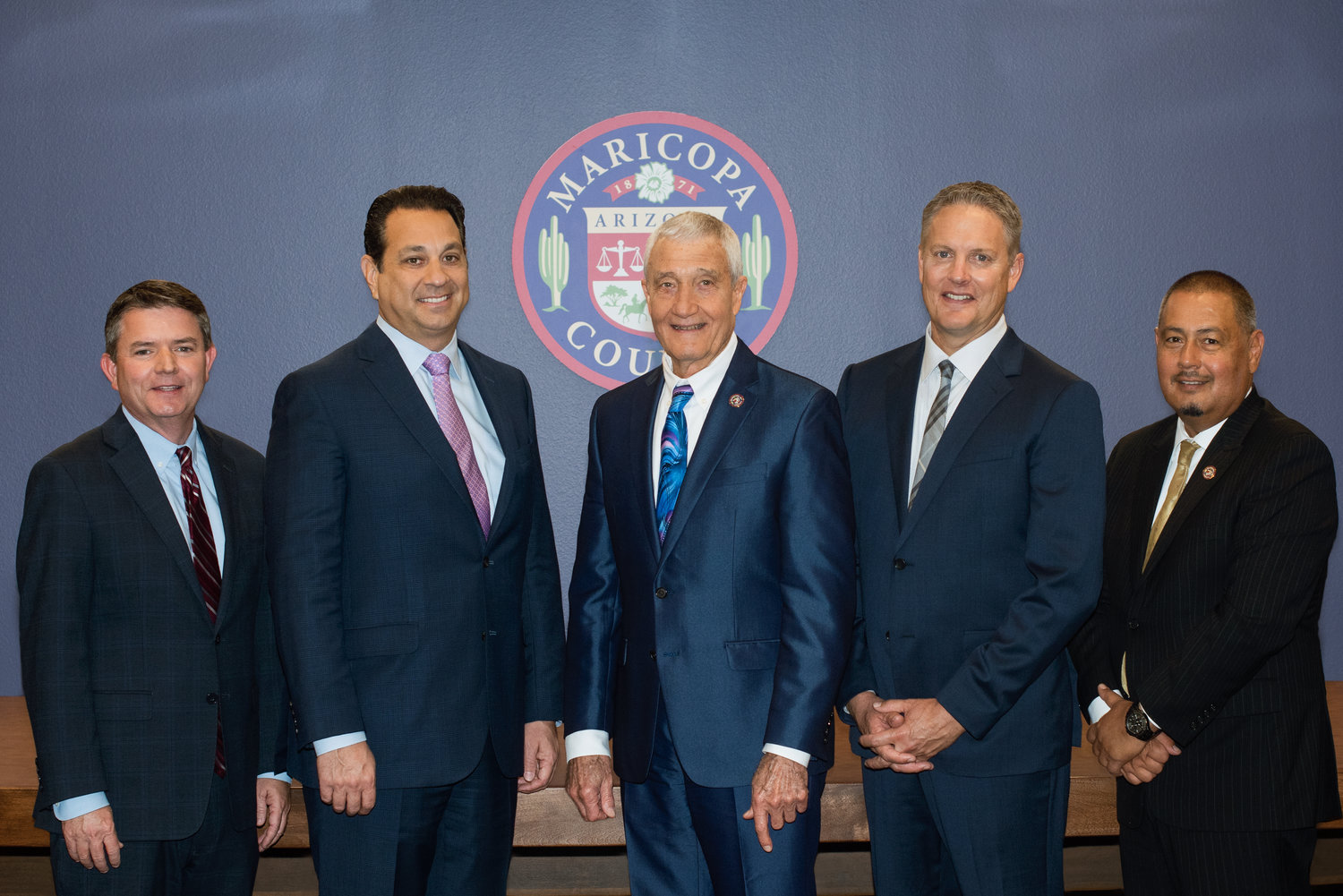 The Maricopa County Board of Supervisors is comprised of, from left, Bill Gates, Steve Chucri, Jack Sellers, Clint Hickman and Steve Gallardo.