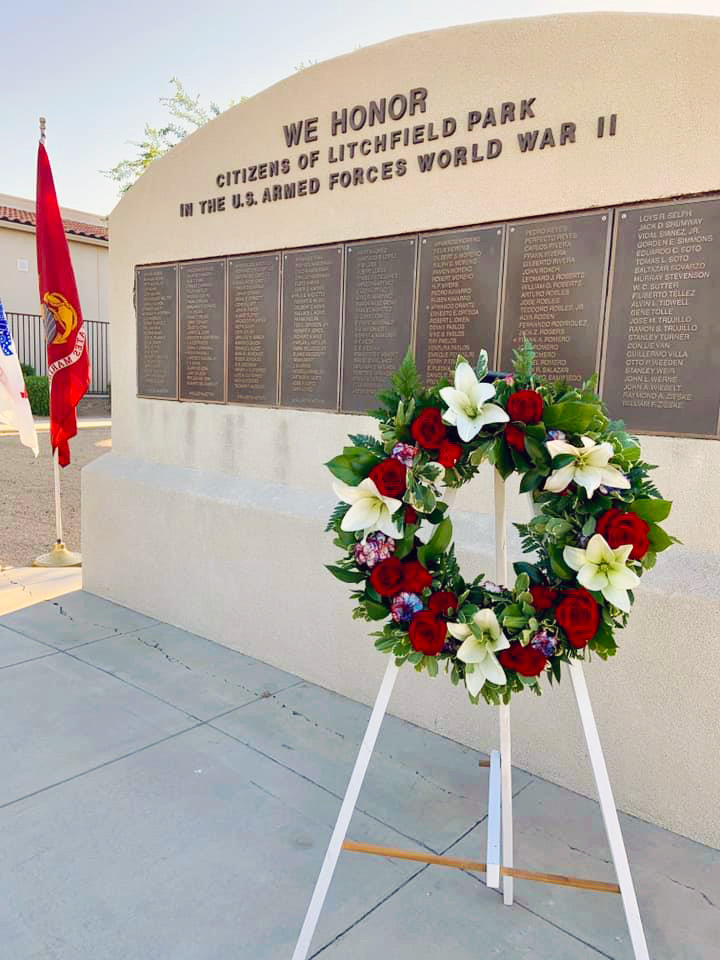 The wreath placed at the World War II Memorial on the west side of Litchfield Elementary School, 255 E. Wigwam Blvd., will remain up until 7 p.m. Monday, March 25 along with a remembrance book and board.