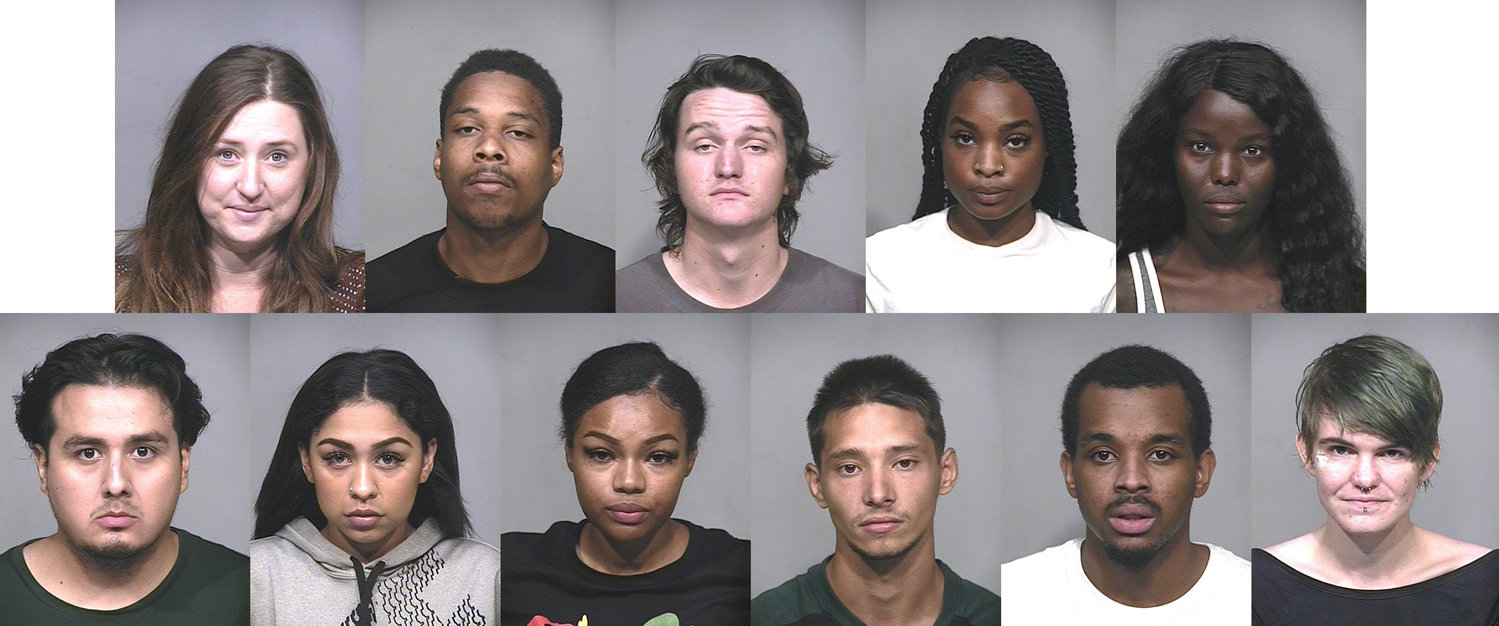 The 12 people arrested by Scottsdale Police Department on May 30. On top, from left, is Breanna Atkins; Muhammed Ali; Alexander Bligh; Taylor Clemons; Sabrin Del. On bottom from left is Enrique Espinoza; Whitney Hannon; Stephanie Nelson; Christian Poineau; Lamont Saunders; and Peyton Spence.