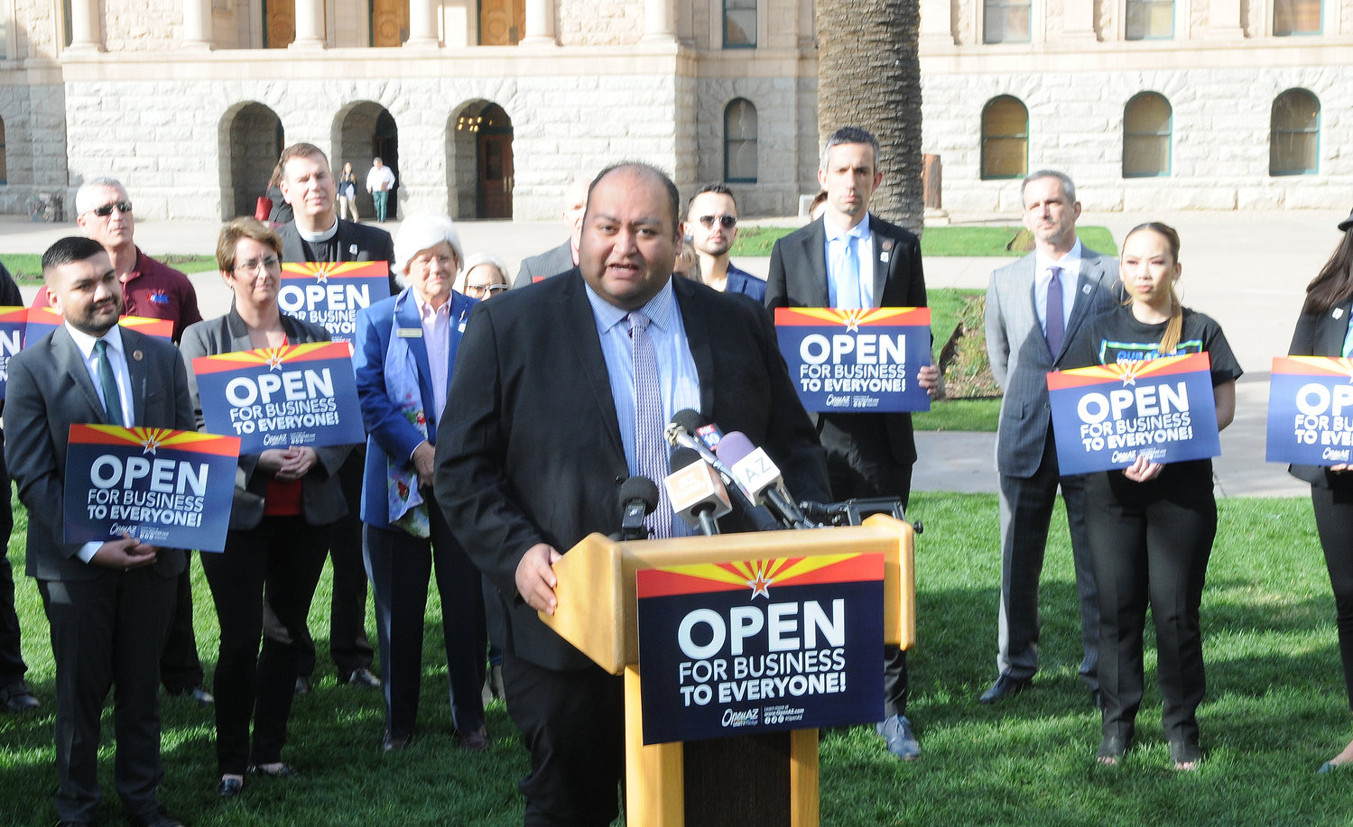 Rep. Daniel Hernandez at a press conference earlier in 2020 pushing, unsuccessfully, to extend Arizona's anti-discrimination laws to also protect those in the LGBTQ community.