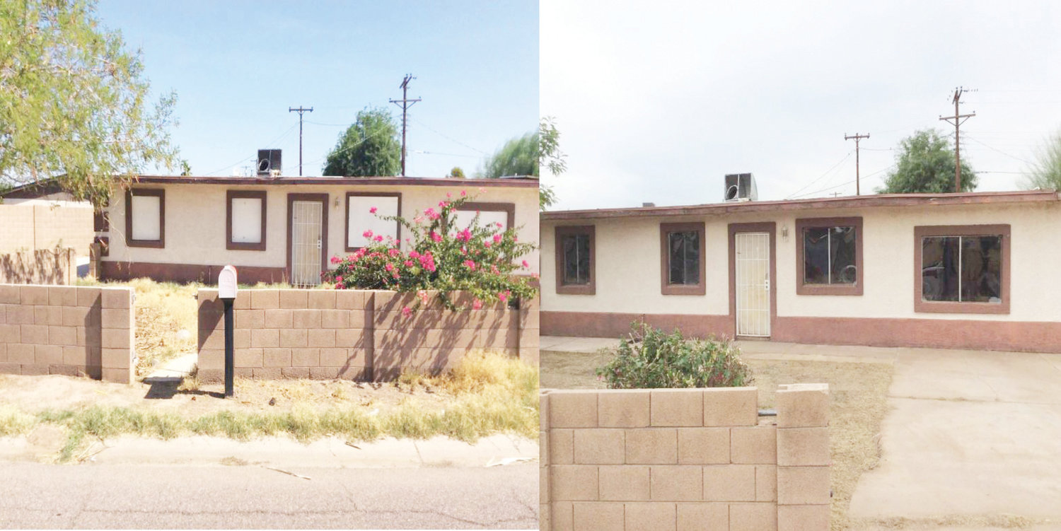 Left, a vacant home in Glendale has its windows boarded up with plywood. Right, the same building has had the plywood replaced with polycarbonate sheets. [Submitted photo/city of Glendale]
