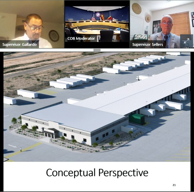 Supervisors listen to the cross-dock presentation during their virtual meeting July 22. The concept drawing depicts how the FedEx truck terminal will look.