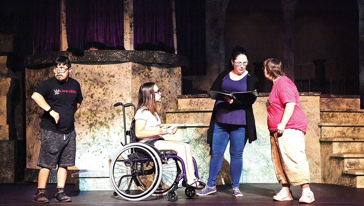 From left, Isaiah Avena, Alyson Highley, acting coach Marret Funk and Christine Young participate in rehearsals for the May 2019 AdaptiveWorks production of Beauty and the Beast at Theater Works in Peoria. Artistic director Chris Hamby said the ongoing COVID-19 public health crisis has cost the 35-year-old non-profit community theater an estimated $500,000 so far this year. [Carly Weekley/Courtesy of Theater Works]