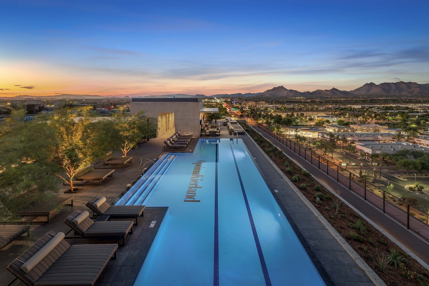 7180 Optima Kierland's Sky Deck includes a heated lap pool with built-in seating areas, spa and a cold-plunge pool.