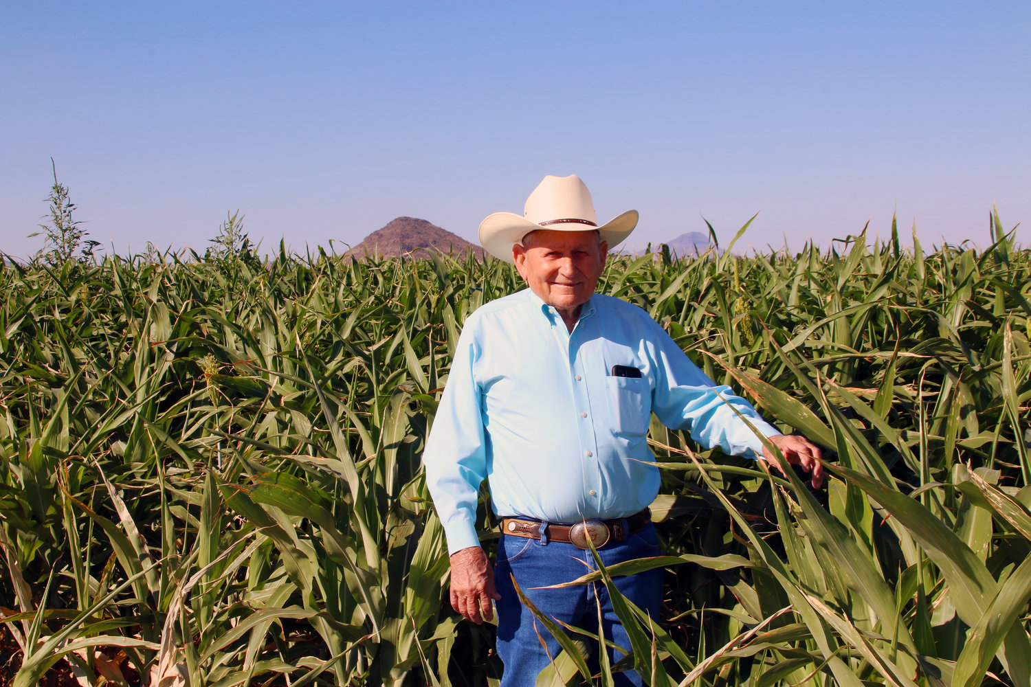 "William Thomas ""T"" Gladden has been farming in the Southwest Valley for more than 60 years. His family's Gladden Farms II in Palo Verde grows feed crops like sorghum for its Saddle Mountain Dairy herd. The farm's southernmost fields abut the Gila River."