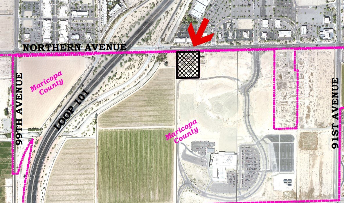 The highlighted area of this aerial photo shows a 3.6-acre property southeast of Loop 101 and Northern Avenue proposed for a mixed-use development that will include five-story hotel, shops and drive-thru restaurants. The site is just northwest of the Desert Diamond West Valley Casino. [Submitted photo/City of Glendale]