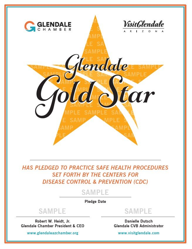 "This sample shows a ""Glendale Gold Star"" that Glendale businesses can hang in their window after pledging to uphold a cheklist of health and safety standards that meet and exceed the recommendations of the Centers for Disease Control and Prevention (CDC). [Submitted photo]"