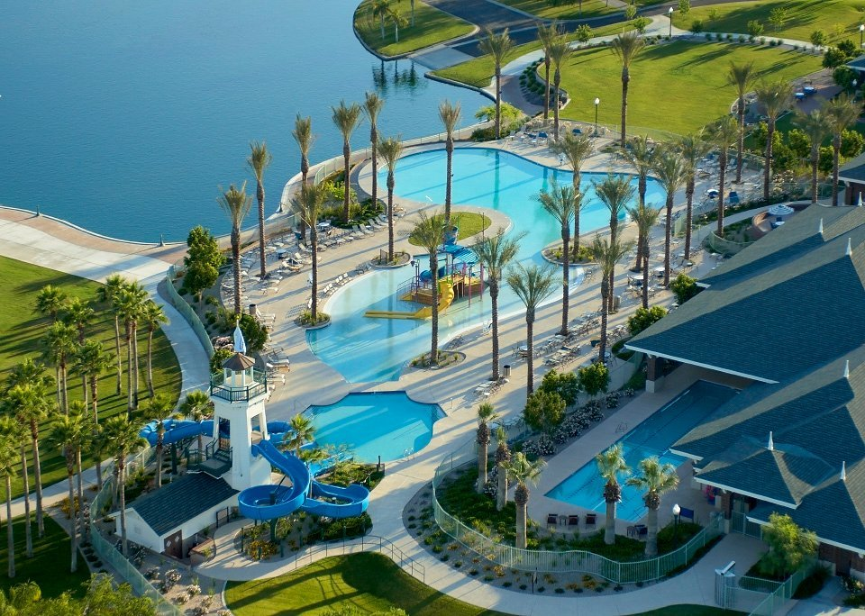 Among the amenities available to residents in the Estrella by Newland master-planned community are a residents' club and water park.