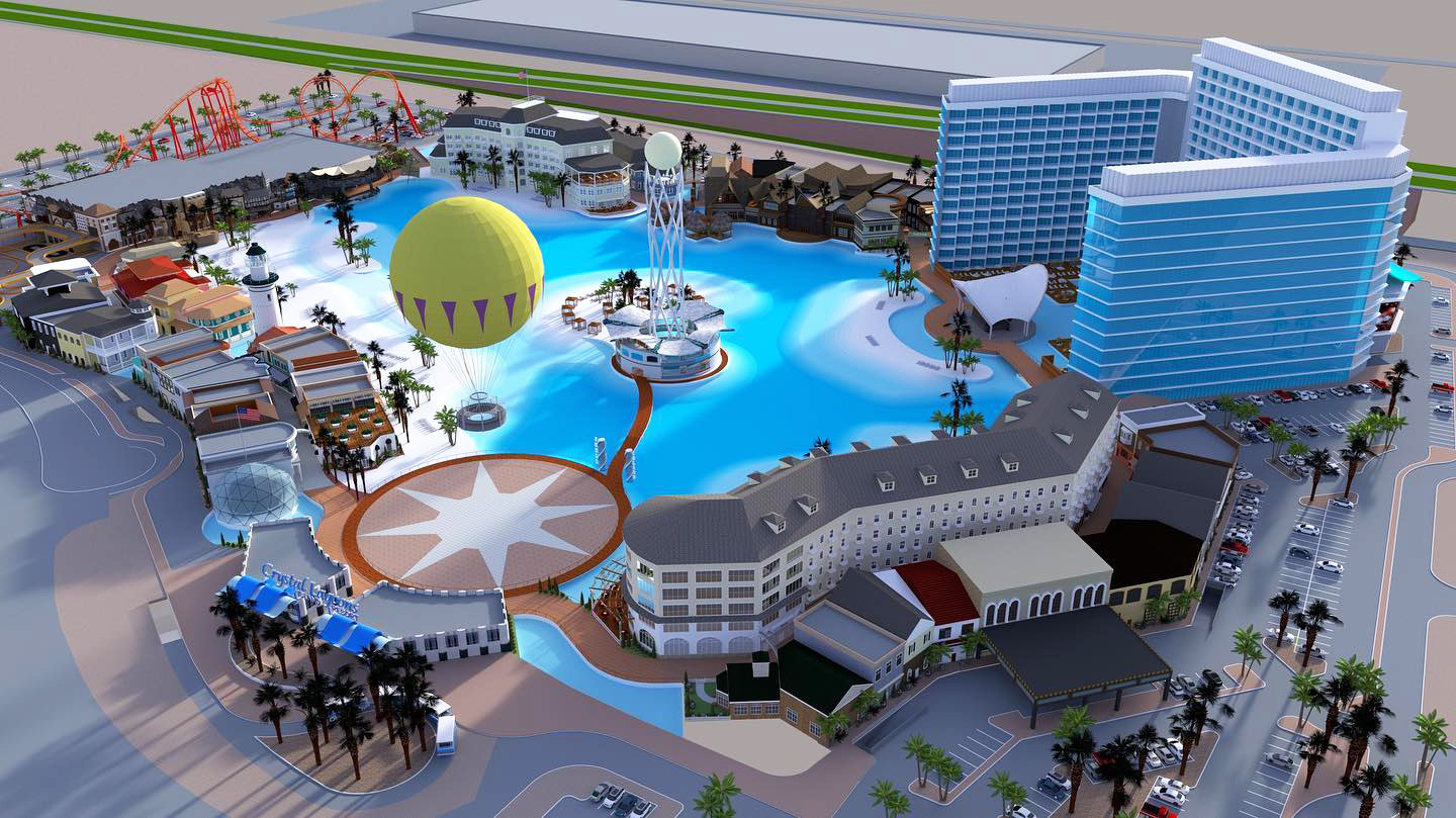 An artist's rendering shows the Crystal Lagoons Island Resort set to open in Glendale in 2022.
