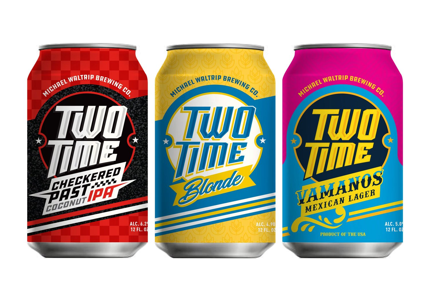 "Michael Waltrip Brewing Company's Two-Time beer brand initially features a lineup of a ""Blonde"" Ale; ""Checkered Past,"" a coconut India Pale Ale; and ""Vamanos,"" a Mexican-style Lager, with year-round and seasonal selections planned."