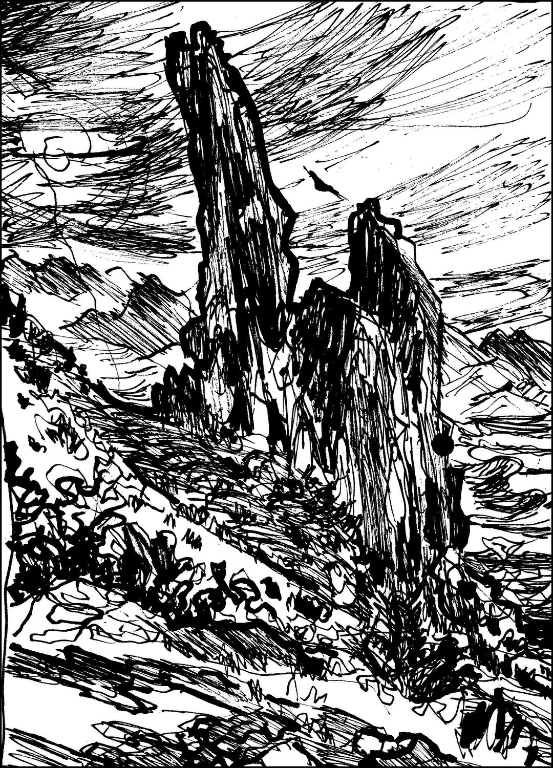 """Superstition Rock Formations,"" 9-by-12-inch. ink on paper, Superstition Mountains, 2015."
