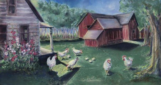 This recently pastel is a family farm in Minnesota. Ms. Peterson's grandmother, Hulda Ryberg Peterson, was born in Tiboke near Hinneryd, Sweden in 1882. Her youngest daughter, Doris Peterson Greenleaf wrote and self-published two books about her family. The Rybergs' settled in Upsala, MN in a home that began as a log cabin and had many changes to the property over the years. Ms. Peterson's grandmother grew Hollyhocks next to her home in Alexandria, MN so she included them in this reflective interpretation of the early family farm in Upsala as it may have looked in the 1940s. [Submitted photo]