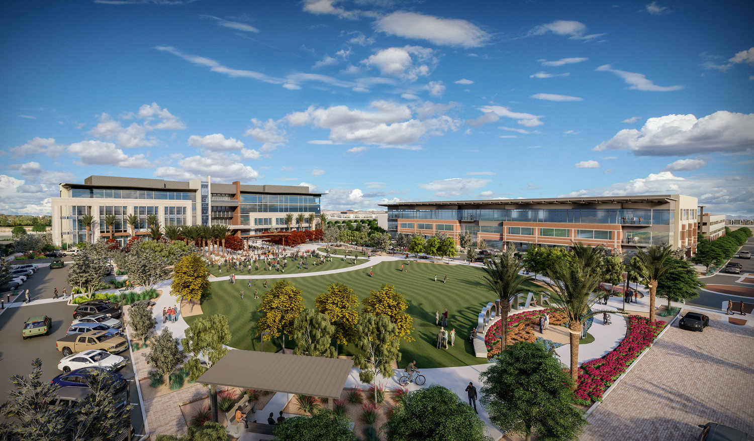 The three-story, 100,000-square-foot Globe Corp. office building, right, is scheduled to open in 2022 along with the new Goodyear City Hall, two-acre park and parking structure. Each is part of Civic Square at Estrella Falls Phase I.