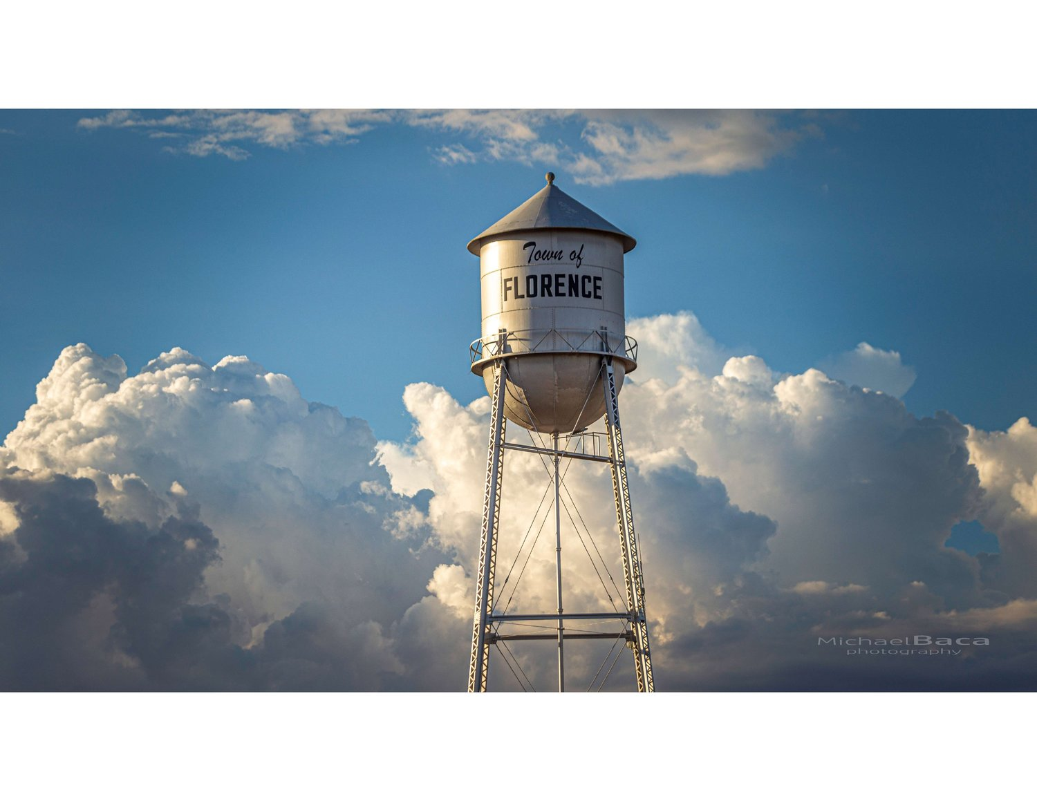 A water tower welcomes folks to Florence.
