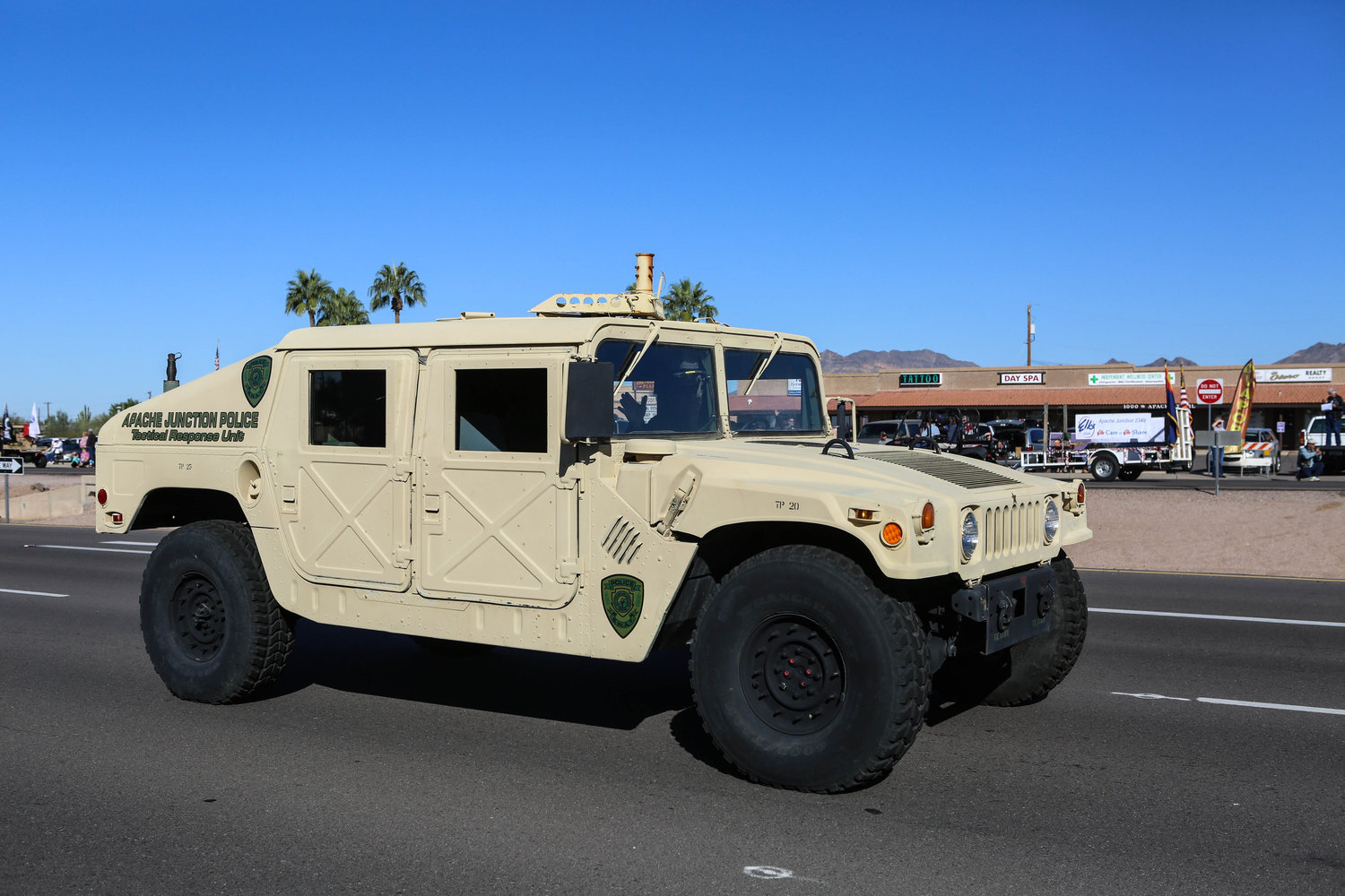 An Apache Junction Police Department tactical response unit vehicle in the 2015 Apache Junction Veterans Day Parade.