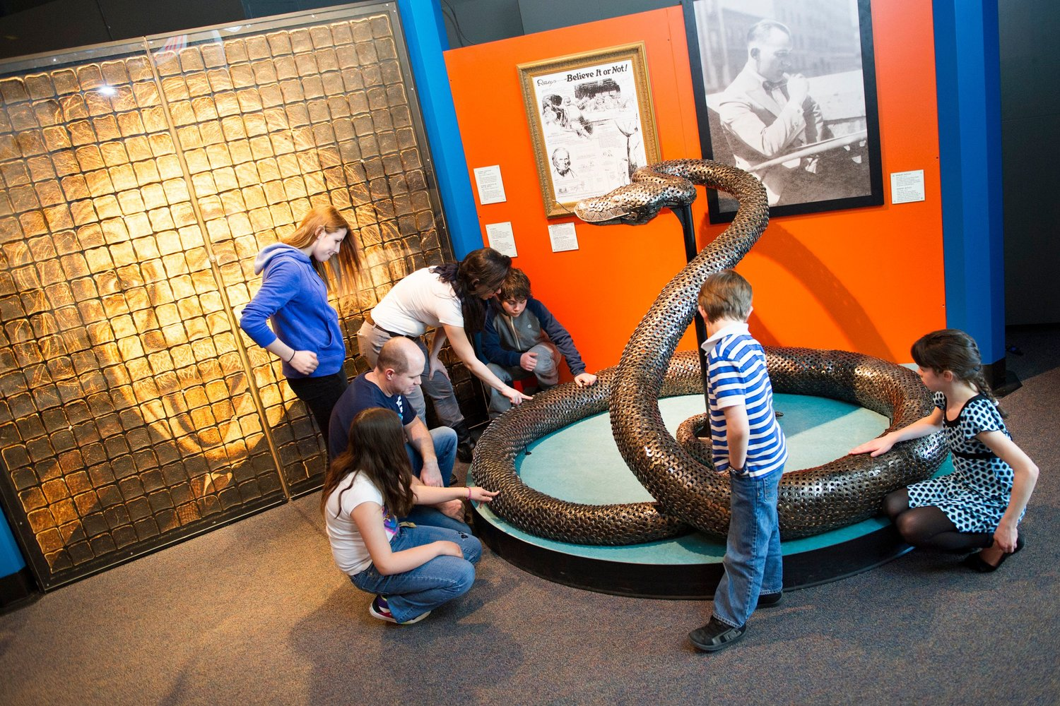 Children can crawl through a life-size model of the prehistoric snake, Titanoboa, and revel at its size.