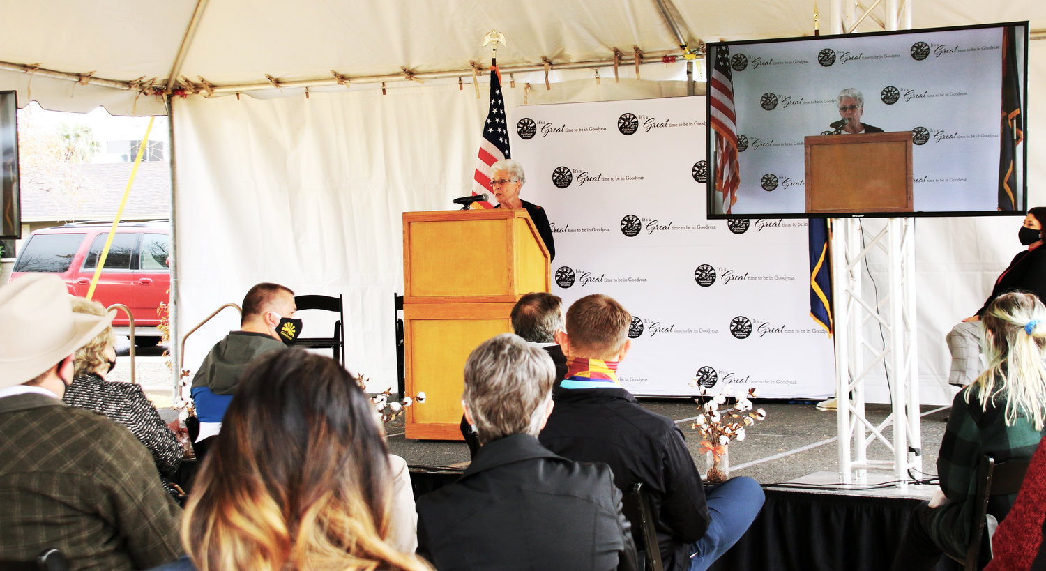 Historian and author Sally Kiko, who moved to Goodyear with her parents a year before its Nov. 19, 1946, incorporation, talks during the city's 75th anniversary kick-off Jan. 22 at Loma Linda Park about what it was like growing up here, and the changes she's witnessed.