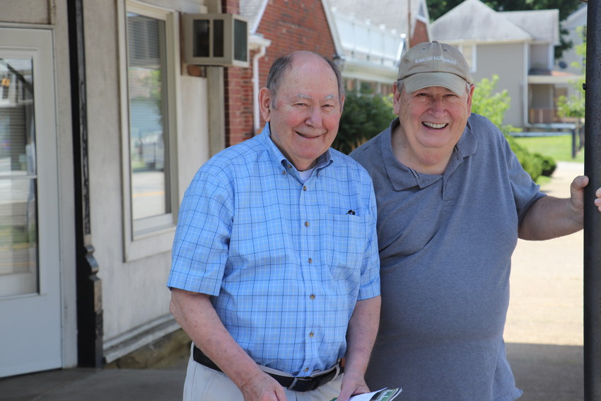 Chesterhill Mayor Richard Wetzel and Council President Ken Peters Pose at the village hall.